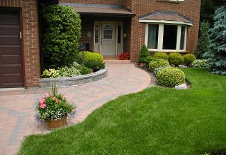 Shape, colour, and plant selection all add to the appeal of this front walkway.