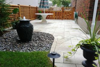 We accentuated this new secluded patio with a decorative Bubbling Urn Fountain.