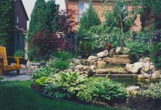 Perennials, flowering shrubs, and rockery accentuate this natural koi pond.